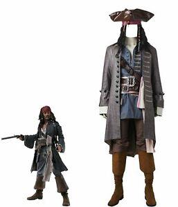 Costume Pirata Jack Sparrow copia professionale cosplay vestito completo adulti