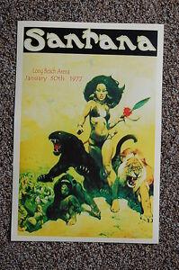Santana Concert Tour Poster 1977 Long Beach Arena