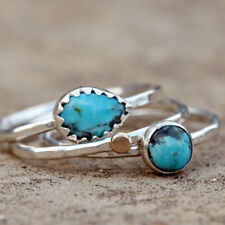 Antique 925 Silver Turquoise Gemstone Ring Set Wedding Women Men Jewelry Sz 6-10
