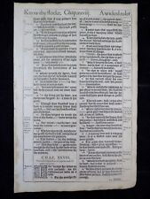 1611 KING JAMES BIBLE LEAF PAGE * BOOK OF PROVERBS*27:12-29:27*CORRECT CHILDREN*