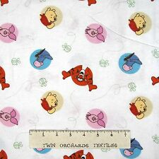 """Flannel Fabric - Winnie the Pooh Dot Toss White - Springs 24"""""""