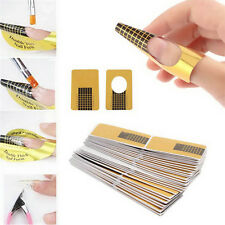 100Pcs Golden Nail Art Tips Extension Forms DIY UV Gel Top Paper Tray Tool