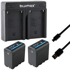 2x Akku für Sony NP-F980 5V USB DC 8,4V + Dual Charger NP-F970 65235-90108-90302