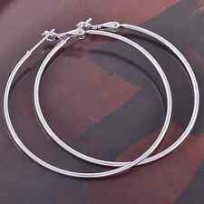 Earrings 9ct White Gold Filled 50mm Smooth Hoops Fits Bead Mother Summer Holiday