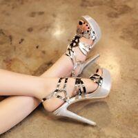 Womens Stilettos High Heels Platforms  Hollow Ladies Sandals Shoes Size 8