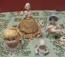 LOT OF 4 VINTAGE PIN CUSHION HALF DOLLS