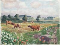 Karl Adser Kühe auf der Weide Sommer Wiese Mohn Rinder Impressionist Dänemark