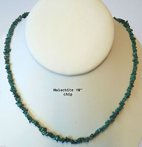 """NATURAL MALACHITE  CRYSTAL CHIP NECKLACE BEAD 18"""""""