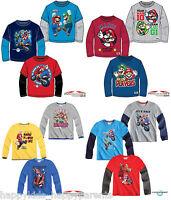 Boys SUPER MARIO Long Sleeve CHARACTER Top MARIOKART T- Shirt 3 4 5 6 7 8 9 10