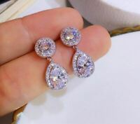 6Ct Pear Unique Cut VVS1/D Diamond Drop & Dangle Earrings 18K White Gold Finish
