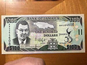 2012 $100 BANK OF JAMAICA CRISP UNCIRCULATED BANK NOTE