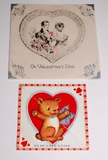 2 Vintage 1930s Valentine' Day Cards — Small Cut-Out Bear & Victorian Couple
