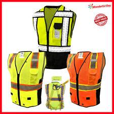 L&M Hi Vis Vest Surveyor Safety Vest Class 2 D-Ring Harness Photo ID Pocket