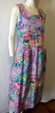 80s pink/turquoise floral print cotton Summer dress M 38-37-56