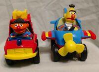 1980's Sesame Street Illco VTG Toy Cars - Bert Airplane & Ernie Fire Truck