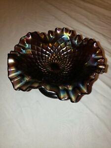 Vintage amethyst purple carnival glass candy dish
