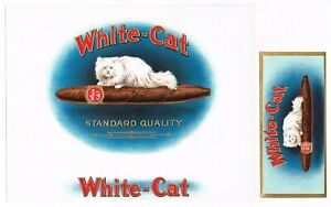 ORIGINAL VINTAGE CIGAR BOX LABEL WHITE CAT ANGORA 1915 STONE LITHOGRAPHIC W END