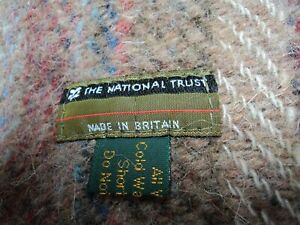 National Trust Beige Red & Blue Check Tartan Wool Country Picnic Throw Blanket