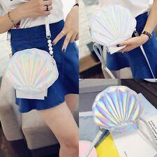 Women Shell Shape Shoulder Crossbody Bag Holographic Clutch Laser Handbag Purse