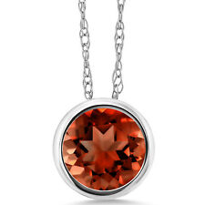 1.00 Ct Round Red Garnet 14K White Gold Pendant With Chain