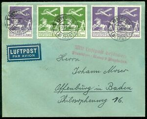 DENMARK : 1934 Very Fine Air Mail cover to Germany. Stamps alone catalog