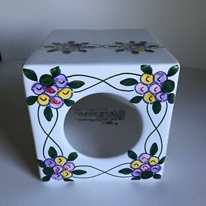 Casafina Hand Painted Porcelain Square Tissue Box Cover Portugal Floral Pattern