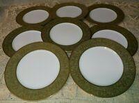 "Set of 8 Sango Versailles 3632 Salad 7.75"" Plates Green Band Gold Filigree EXC"