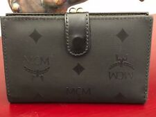 MCM Germany Black Monogram Coated Canvas/Leather French Purse Wallet  Small