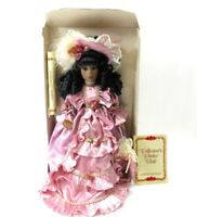 Collectors Choice Porcelain Doll dark lady with hat Fine Victorian Christmas