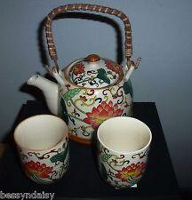 RED LOTUS 3pcs Japanese Pot Chinese Tea set 2 large Cup infuser Gift green leaf