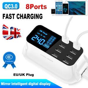 5/8 Port Multi USB HUB Wall Charger Charging Dock Station LCD Display UK Plug