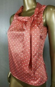 REVIEW BLOUSE - RED POLKA DOT - ASCOT TIE TOP BLOUSE TUNIC SHIRT - SIZE 6
