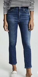 Blue High Waist Cropped Flare Frayed Hem Jeans Sz 28 (10) Citizens Of Humanity