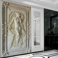 Customized 3D Stereoscopic Relief Angel Nude Statue Mural Wallpaper Entrance