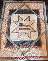 "VTG Cozy Hand & Machine Sewn Quilt / Blanket 85"" X 65"" Approx. Patriotic Theme"