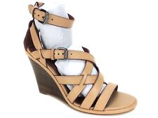 Coach Women's Dawn Strappy Wedge Sandals Soft Veg Leather BEECHWOOD Size 9 M
