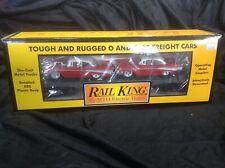 MTH 30-76381 Rail King MTH Flat Car #1957 w/2 ERTL '57 Chevy's Semi Scale New