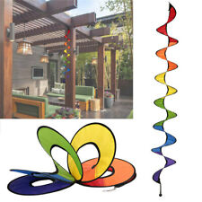 23E5 Cloth Garden Decor Rainbow Whirligig 3D Spiral Windmill