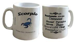 Scorpio Star Sign Mug. Zodiac Mug With Description. Birthday, Christmas Mugs