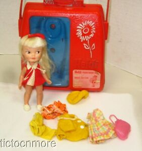 VINTAGE HEIDI REMCO POCKETBOOK DOLL SWISS BLONDE & ORIGINAL RED PURSE + CLOTHES