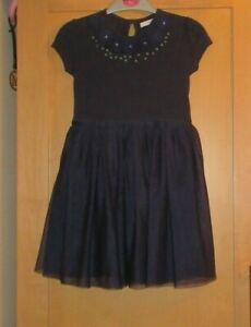 M&S GIRLS 5-6 YEARS NAVY FLOWER SEQUIN NET PARTY DRESS