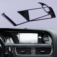 2Pcs For Audi A4 B8 2009-2016 Carbon Fiber Car GPS Navigator Panel Frame Trim