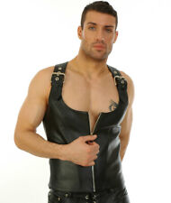 SEXY BLACK Mens Real Leather Rear Laced & Steel Boned CORSET Vest  Most Sizes