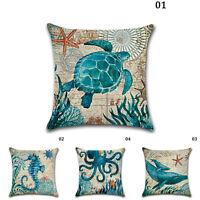 18'' Ocean Beach Sea Linen Pillow Case Sofa Throw Cushion Cover Home Car Decor