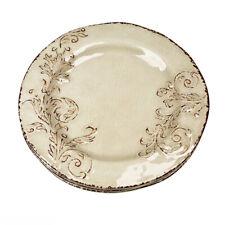 New listing Cynthia Rowley Filigree Scroll Beige Cream Melamine Dinner Plates Set of 4