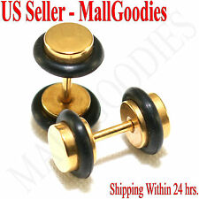 2092 Fake Cheater Illusion Faux Ear Plugs 16G Surgical Steel 2G 6mm Gold Small