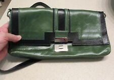 PULICATI Italy Gorgeous Green and Black Leather Shoulder Strap Purse