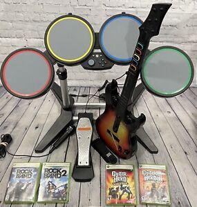 Xbox 360 Harmonix Rock Band Drum Set + Sunburst Guitar Hero Controller + 4 Games