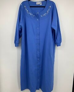 Only Necessities womens 3X robe blue long snap front pockets cuffed sleeves NEW