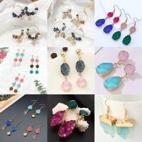 Fashion Nature Stone Teardrop Women Flower Drop Dangle Stud Earrings Jewelry New